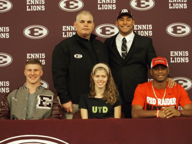 Top: Athletic Director and Head Football Coach Jack Alvarez, James Lockhart Bottom: Drake Kuehn, Emma Lane, Donta Thompson