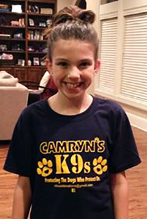 Camryn Samuel, 10, launched Camryn's K9s in Jan. 2015 to help law enforcement agencies purchase ballistics vests for their canine officers.