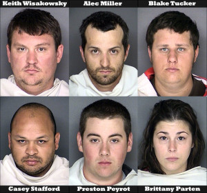 Top (left to right): Keith Edward Wisakowsky, Alec Chase Miller, Blake Jerold Tucker. Bottom (left to right): Casey Stafford, Preston Peyrot, Brittany Parten.