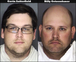 Fire Chief Gavin Satterfield (left) and Assistant Chief Billy Getzendaner (right) were arrested for tampering with witnesses in an alleged sexual assault incident that netted five fellow volunteer firemen.