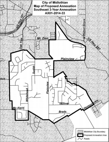 Proposed area to be annexed by the City of Midlothian.