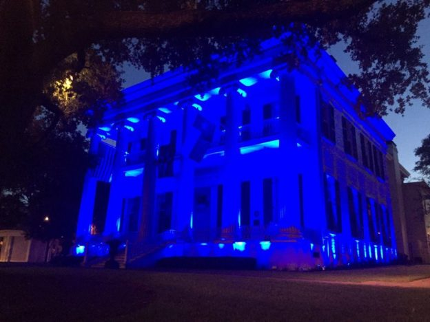 The Texas Governor's Mansion was lit blue Friday night to honor the police officers killed in Dallas on Thursday, July 7, 2016.