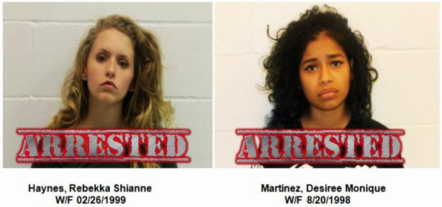 Rebekka Shianne Haynes, 17, of Glenn Heights and Desiree Monique Martinez, 18, of Red Oak were arrested on Monday, November 7, 2016 by the Red Oak Police Department related to a string of vehicle burglaries.