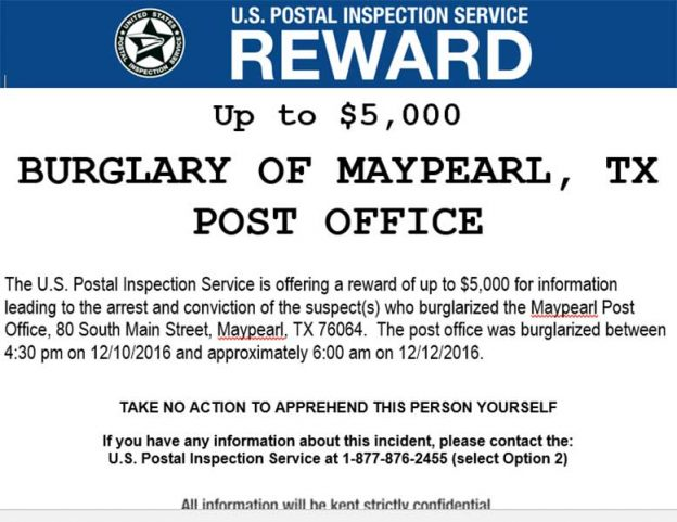 USPS reward - Dec. 16, 2016